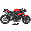 11-15 Speed Triple 1050 SC-Project Dual Oval Silencers w/Y Pipe