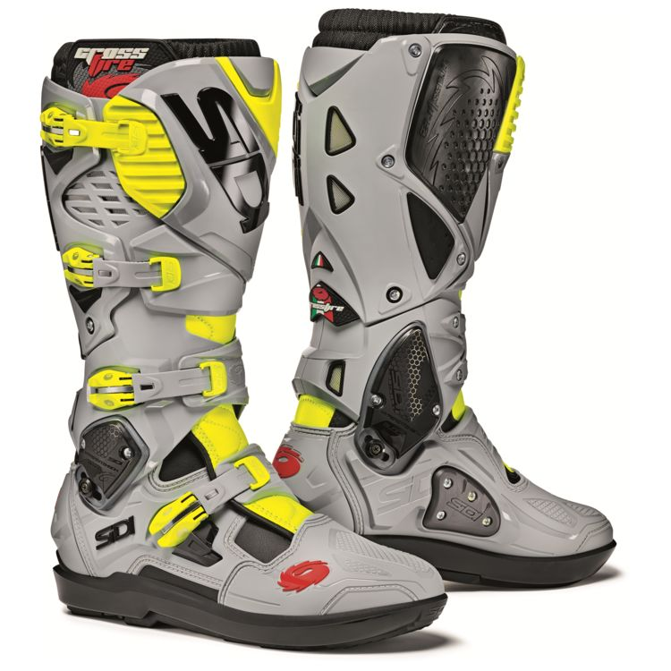 Sidi Crossfire 3 SR Off-Road Motorcycle Boots Black/Ash/Yellow