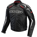 Spidi Track Leather Motorcycle Racing Jacket Black/White