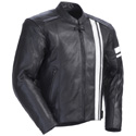 Tourmaster Coaster 3 Mens Leather Motorcycle Jacket Black/White